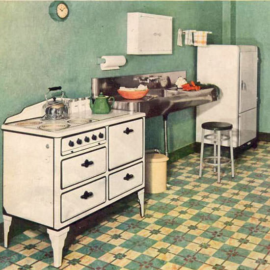 Detail Of Sealex Floors And Walls Kitchen 1933 | Best of Vintage Ad Art 1891-1970