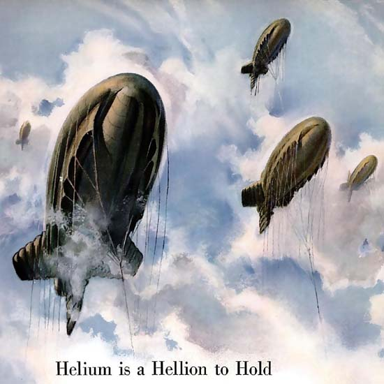 Detail Of Shell Barrage Balloons Helium Is A Hellion To Hold | Best of Vintage Ad Art 1891-1970