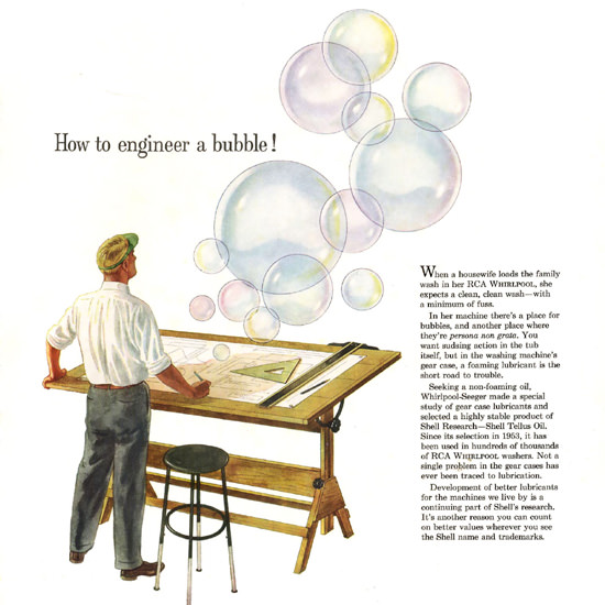 Detail Of Shell Bubble RCA Whirlpool Washers | Best of Vintage Ad Art 1891-1970