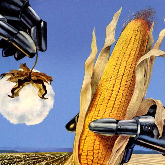 Detail Of Shell Cotton And Corn Fields John Deere 1952 | Best of Vintage Ad Art 1891-1970