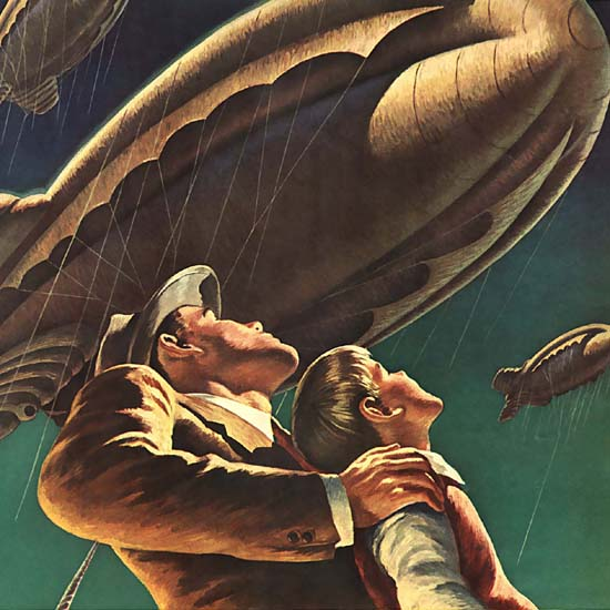 Detail Of Shell Flying Elephants Army Navy | Best of Vintage Ad Art 1891-1970