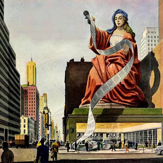 Detail Of Shell Oracle On 57th Street 1950 | Best of Vintage Ad Art 1891-1970