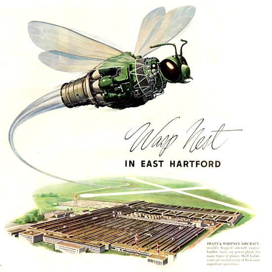 Detail Of Shell Wasp Nest Pratt Whitney Aircraft 1952 | Best of Vintage Ad Art 1891-1970