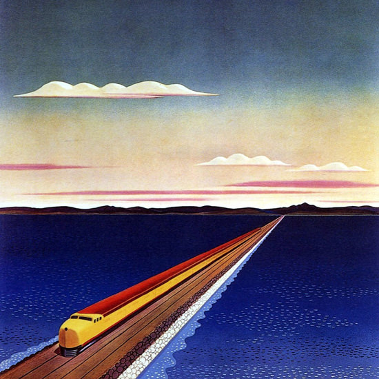 Detail Of Southern Pacific Crossing Great Salt Lake H Hall | Best of Vintage Ad Art 1891-1970
