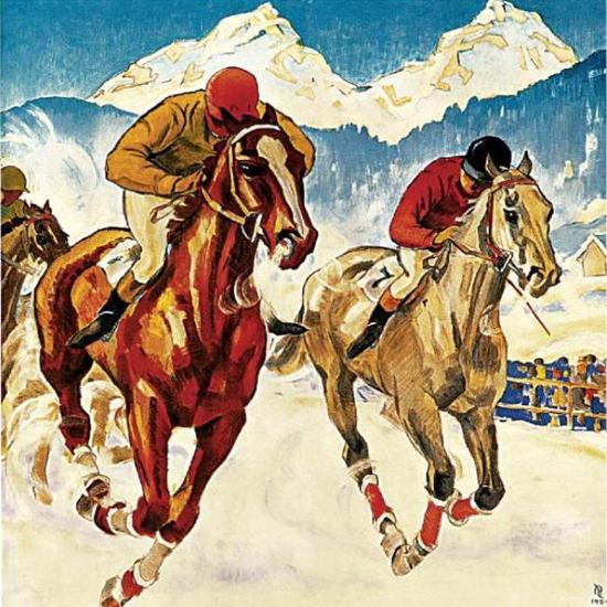 Detail Of St Moritz Engadin Schweiz 1924 Switzeland | Best of Vintage Ad Art 1891-1970