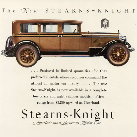 Detail Of Stearns Knight 7 P Sedan Cleveland 1927 | Best of Vintage Ad Art 1891-1970