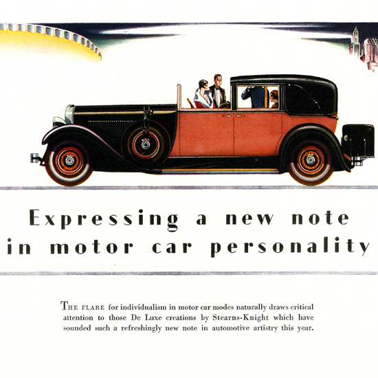 Detail Of Stearns Knight De Luxe Town Car 1928 Personality | Best of Vintage Ad Art 1891-1970