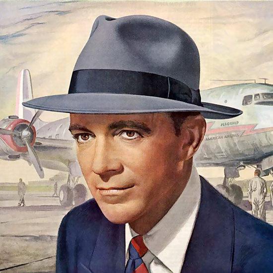 Detail Of Stetson Hat Dana Andrews Cadet Flagship | Best of Vintage Ad Art 1891-1970