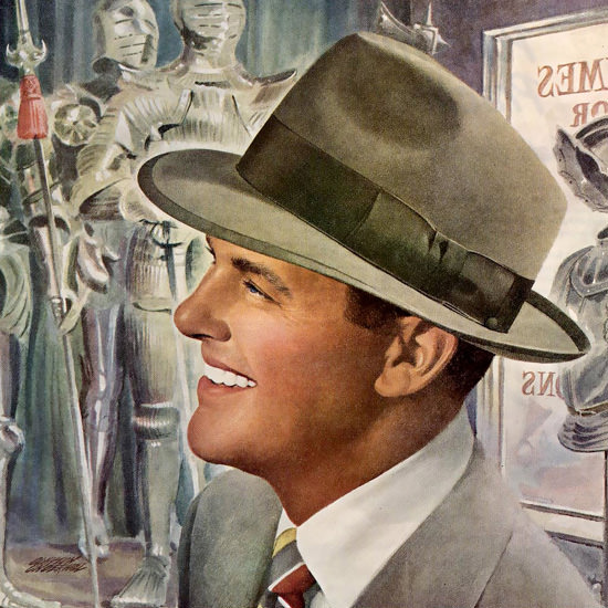 Detail Of Stetson Hat Lancer Pobert Cummings | Best of Vintage Ad Art 1891-1970