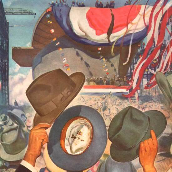 Detail Of Stetson Hats Vita-Felts Ship Naming 1941 | Best of Vintage Ad Art 1891-1970