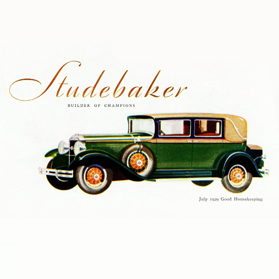 Detail Of Studebaker President Eight Brougham Five 1929 | Best of 1920s Ad and Cover Art