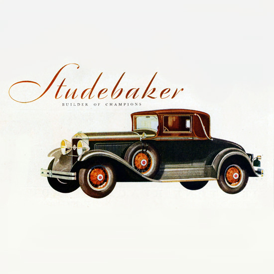 Detail Of Studebaker President Eight Convertible 1929 | Best of Vintage Ad Art 1891-1970