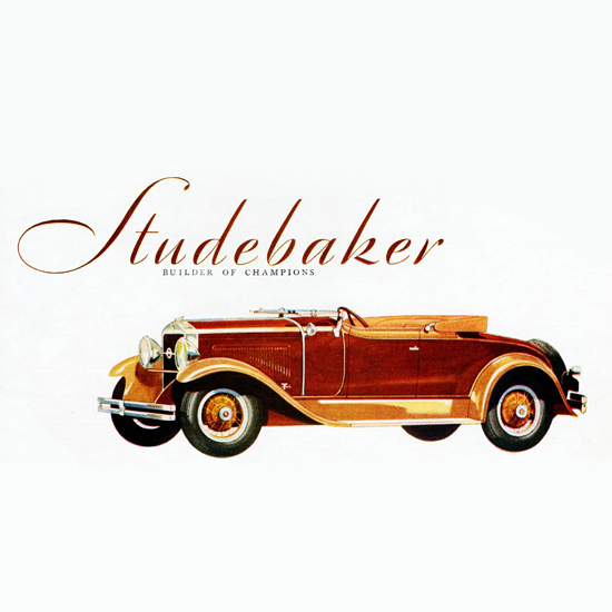 Detail Of Studebaker President Straight Eight Roadster 1929 | Best of 1920s Ad and Cover Art