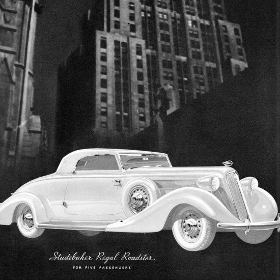 Detail Of Studebaker Regal Roadster 1935 Skyscraper | Best of Vintage Ad Art 1891-1970