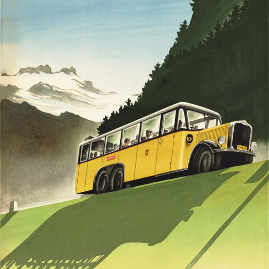 Detail Of Switzerland Alpine Postal Motor Coaches 1930s | Best of Vintage Ad Art 1891-1970