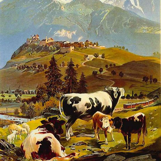 Detail Of Switzerland Suisse CFF Railroad La Gruyere 1906 | Best of Vintage Ad Art 1891-1970
