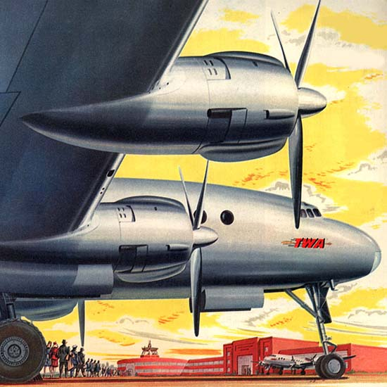 Detail Of TWA Airline Adventure In Contentment 1945 | Best of 1940s Ad and Cover Art