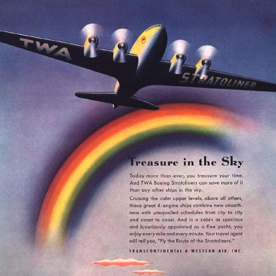 Detail Of TWA Airlines Western Air Treasure In The Sky | Best of Vintage Ad Art 1891-1970