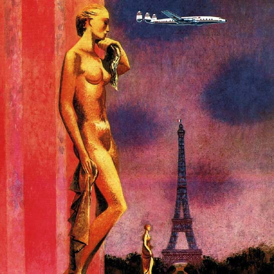 Detail Of TWA Fly Paris 1950 Super Constellation Eiffel Tower | Best of Vintage Ad Art 1891-1970