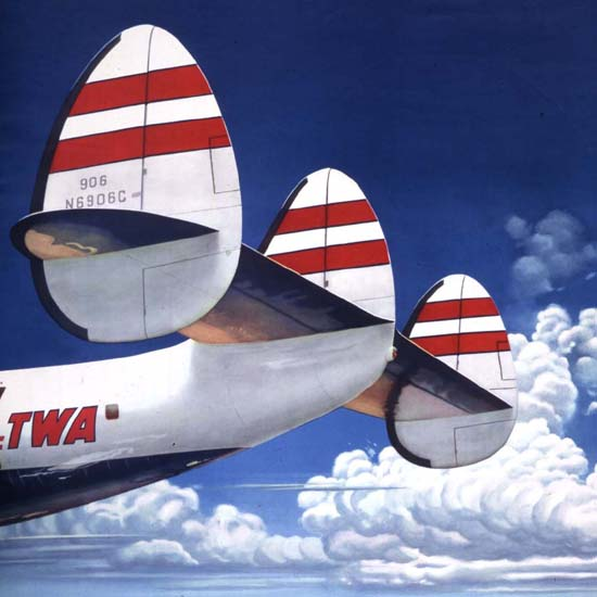 Detail Of TWA Fly The Finest Super Constellation 1952 B | Best of Vintage Ad Art 1891-1970