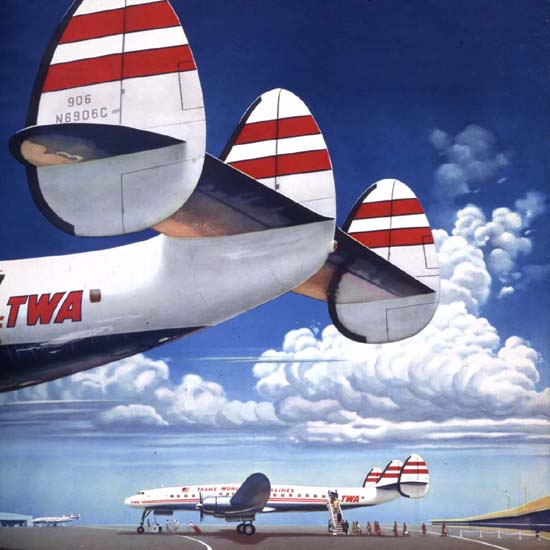 Detail Of TWA Fly The Finest Super Constellation 1952 | Best of Vintage Ad Art 1891-1970