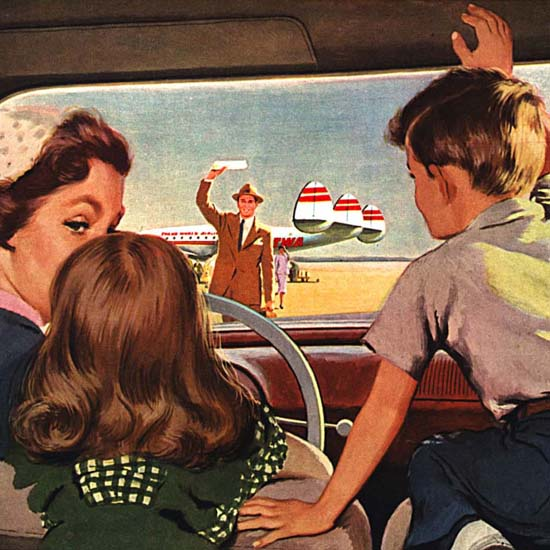 Detail Of TWA Here Today Home Today Super Constellation   Best of Vintage Ad Art 1891-1970