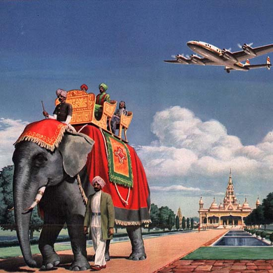Detail Of TWA High Way To Bombay Super Constellation 1947 | Best of Vintage Ad Art 1891-1970