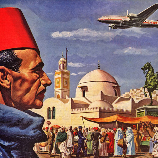 Detail Of TWA Mediterranean Super Constellation 1947 | Best of 1940s Ad and Cover Art