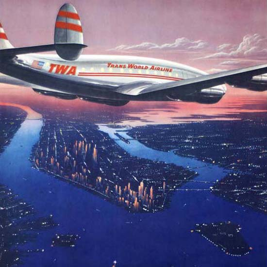Detail Of TWA Moyen Orient Super Constellation 1946 | Best of 1940s Ad and Cover Art