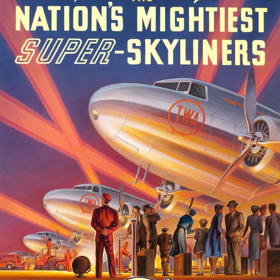 Detail Of TWA Nations Mightiest Super Skyliners 1939 | Best of Vintage Ad Art 1891-1970