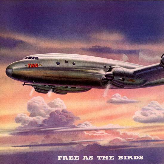 Detail Of TWA Trans World Airline Free As The Birds 1945 | Best of Vintage Ad Art 1891-1970