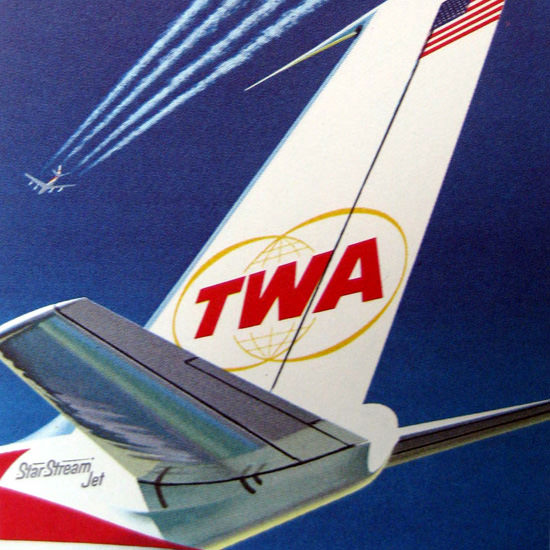 Detail Of TWA Trans World Airlines Star Stream Jet 1962 | Best of Vintage Ad Art 1891-1970