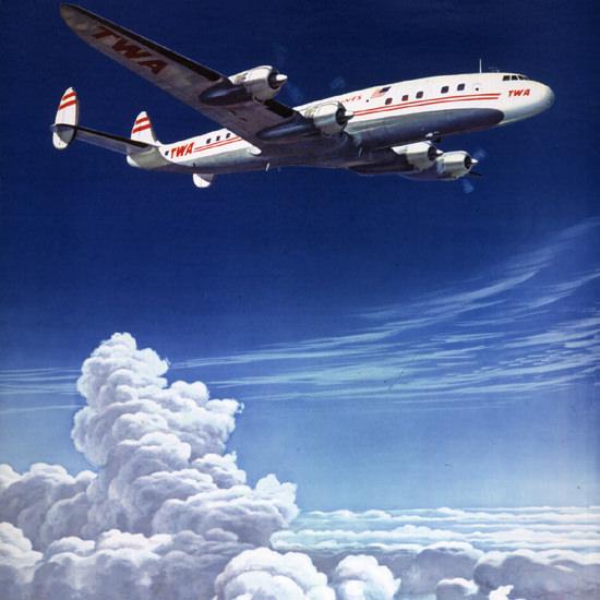 Detail Of TWA US Overseas Super Constellation 1952 | Best of Vintage Ad Art 1891-1970