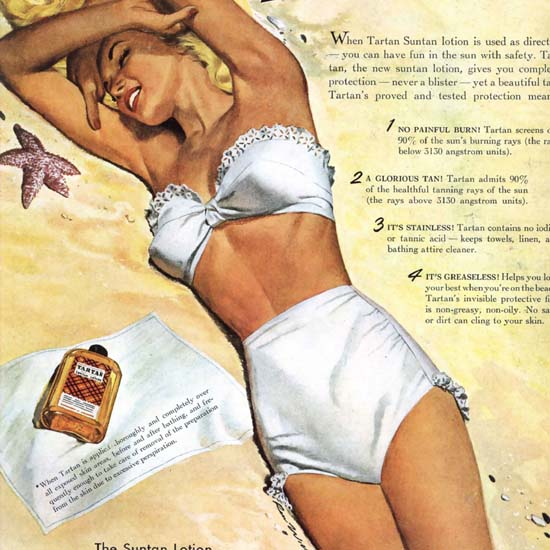 Detail Of Tartan Beach Girl Lets You Tan Never Burn 1947 B | Best of Vintage Ad Art 1891-1970