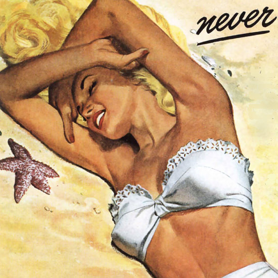 Detail Of Tartan Beach Girl Lets You Tan Never Burn 1947 | Best of 1940s Ad and Cover Art