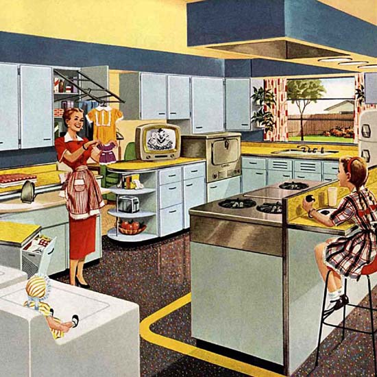 Detail Of The Television Kitchen 1953 | Best of Vintage Ad Art 1891-1970