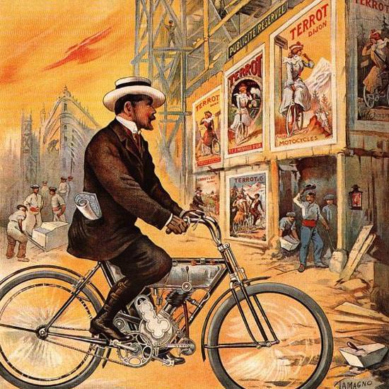 Detail Of Terrot Cie Dijon Cycles Motorettes 1909 | Best of Vintage Ad Art 1891-1970