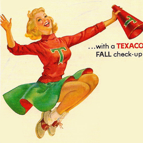 Detail Of Texaco Dealers Beat Winter Girl Fall Check 1950s | Best of Vintage Ad Art 1891-1970