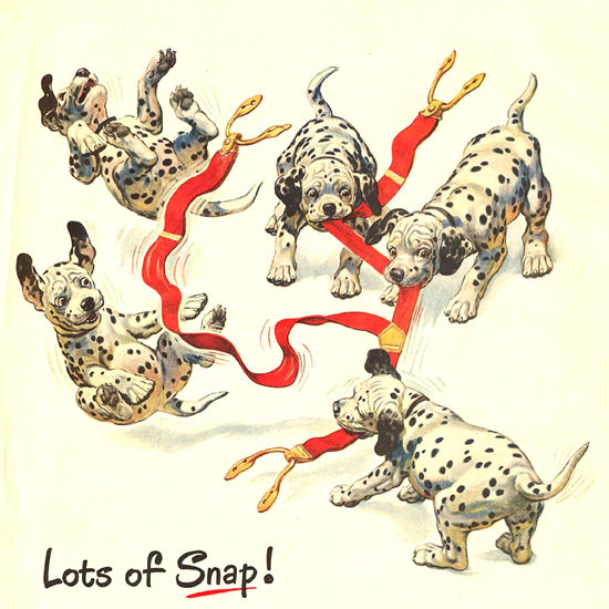 Detail Of Texaco Fire-Chief Lots Of Snap 1950s Puppies | Best of Vintage Ad Art 1891-1970