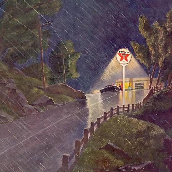 Detail Of Texaco The Star That Shines All Night 1941 | Best of 1940s Ad and Cover Art