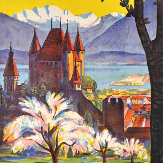 Detail Of Thun Plage Strandbad Switzerland 1953 Lido | Best of Vintage Ad Art 1891-1970