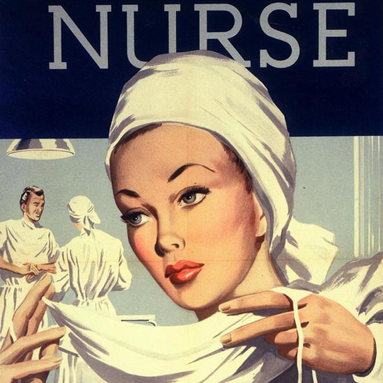 Detail Of Trained To Be A Nurse Operating Room | Best of Vintage Ad Art 1891-1970