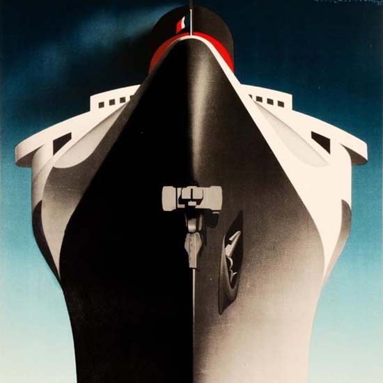 Detail Of Transatlantique Normandie 1939 | Best of Vintage Ad Art 1891-1970