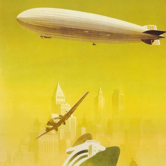 Detail Of Trip To Germany Zeppelin NewYork Berlin | Best of Vintage Ad Art 1891-1970