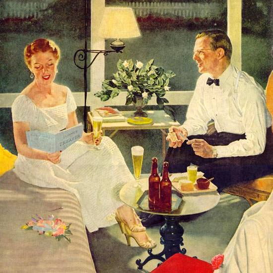 Detail Of US Brewers Foundation Beer Happy Hour 1953 | Best of Vintage Ad Art 1891-1970
