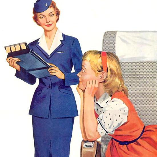 Detail Of United Air Career Stewardess Air Hostess 1955 | Best of Vintage Ad Art 1891-1970