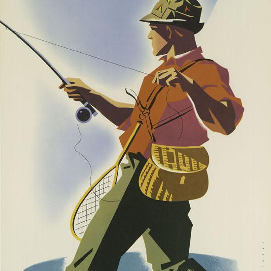 Detail Of United Air Lines Colorado 1950 Fisherman | Best of Vintage Ad Art 1891-1970