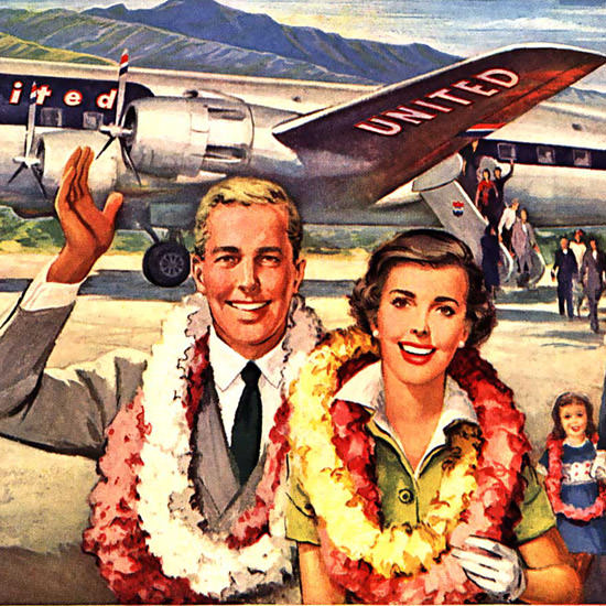 Detail Of United Air Lines Hawaii Is Just A Few Hours Away | Best of Vintage Ad Art 1891-1970