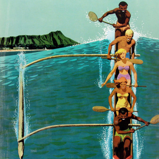 Detail Of United Air Lines Hawaii Outrigger 1960 | Best of Vintage Ad Art 1891-1970