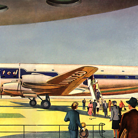Detail Of United Air Lines Mainliner 300 Douglas DC-6 | Best of Vintage Ad Art 1891-1970